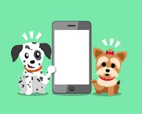 Cartoon character yorkshire terrier dog and dalmatian dog with smartphone. For design Stock Photo