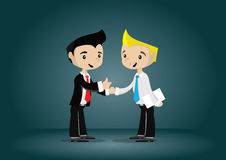 Cartoon character young businessman appreciated by the boss, vector eps10 Royalty Free Stock Photography