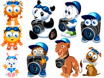 Cartoon Characters. A set of various cartoon characters like dogs, lion, kid, rabbit & bunny, isolated on white background Royalty Free Stock Images