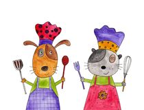 Cartoon characters. Artistic work. Watercolours on paper Stock Image