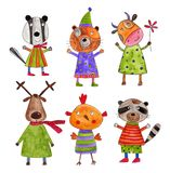 Cartoon characters. Artistic work. Watercolours on paper Royalty Free Stock Images