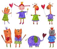 Cartoon characters. Artistic work. Watercolours on paper Royalty Free Stock Photo