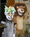 Cartoon characters. Alex the lion and king Julien, from the film Madagascar, they were part of Disney dream work heroes cartoon characters. On board our cruise stock photos