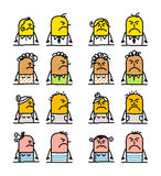 Cartoon characters - angry people. Vector hand drawn cartoon characters - angry people stock illustration