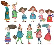 Cartoon characters. Artistic work. watercolors on paper Royalty Free Stock Photo