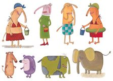 Cartoon characters. Artistic work. Watercolors on paper Stock Photography