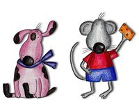 Cartoon characters. Artwork. Colorful handmade illustration for children Stock Image