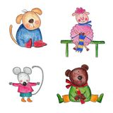 Cartoon characters. Artwork. Colorful handmade illustrations for children Stock Photography