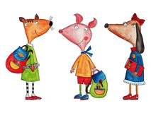 Cartoon characters. Artwork, ink and watercolors on paper Royalty Free Stock Photo