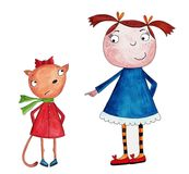 Cartoon characters. Artwork, ink and watercolors on paper Royalty Free Stock Photography