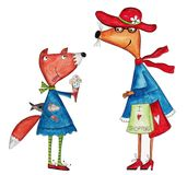 Cartoon characters. Artwork, ink and watercolors on paper Royalty Free Stock Images