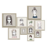Cartoon characters as women in brown frame. Illustration Hand drawn for decoration art work. Stock Images