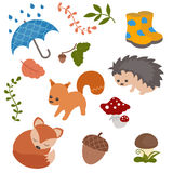 Cartoon characters and autumn elements Stock Photography