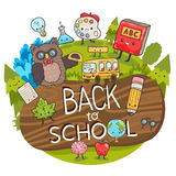 Cartoon characters. Back to school background. Stock Image