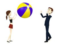 Cartoon characters with beach ball play Stock Photography
