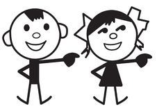 Cartoon characters of boy and girl Stock Images