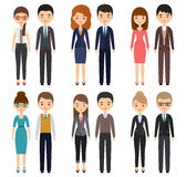 Cartoon characters in business clothes. Vector illustration. Royalty Free Stock Photo