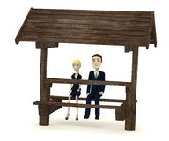 Cartoon characters in business suits on forest seat Stock Photos