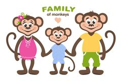 A family of three monkeys - mom, dad and son. vector illustration