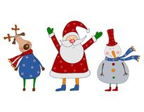 Cartoon characters. Christmas card. Colorful graphic illustration for children Royalty Free Stock Image