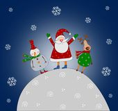 Cartoon characters. Christmas card. Colorful graphic illustration for children Stock Photo