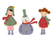 Cartoon characters. Christmas card. Colorful graphic illustration for children Stock Photography