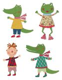 Cartoon characters. Colorful fabric and paper quiltting Royalty Free Stock Photo