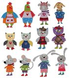 Cartoon characters. Colorful felt and wool quiltting Stock Photo
