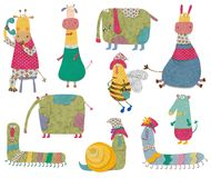 Cartoon characters. Colorful graphic illustration for children Royalty Free Stock Photography