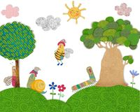 Cartoon characters. Colorful graphic illustration for children Stock Photography