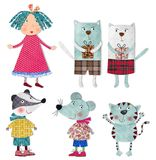 Cartoon characters. Colorful graphic illustration. Quilt design Stock Image