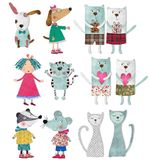 Cartoon characters. Colorful graphic illustration. Quilt design Royalty Free Stock Photography