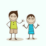 Cartoon characters in dancing mood. Stock Photos