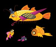 Free Cartoon Characters, Dandy Fish With Umbrella Stock Images - 43169444