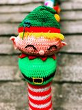 A Cartoon characters decorations for Christmas in Hongkong. A cute knitted cartoon characters decorations on the railing for Christmas in Hongkong China stock image