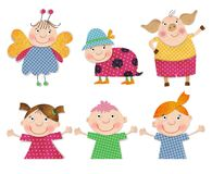 Cartoon characters. Decorative elements. Colorful graphic illustration for children Royalty Free Stock Photo