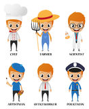 Cartoon characters with different profession Stock Image