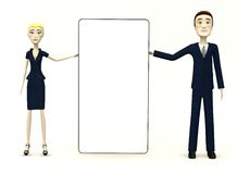 Cartoon characters with empty board. 3d render of cartoon characters with empty board Royalty Free Stock Photos