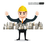 Cartoon characters engineers The success in building sales. Stock Images