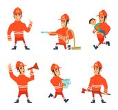 Cartoon characters of firefighters in action poses. Vector firefighter emergency, illustration of fireman Stock Photos