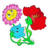 Cartoon characters flowers. Funky flowers. Illustration Royalty Free Stock Images