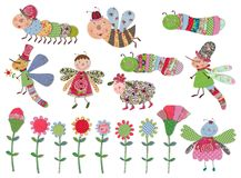 Cartoon characters and flowers set. Colorful fabric and paper quiltting Stock Image