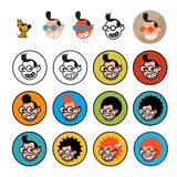 Cartoon characters geeks in a flat style. Vector image isolated on white background. Comics logo of the company. Avatar, icons of. Characters for print and site stock illustration