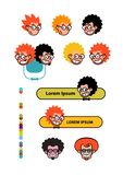 Cartoon characters geeks in a flat style. Vector image isolated on white background. Comics logo of the company. Avatar, icons of. Characters for print and site vector illustration