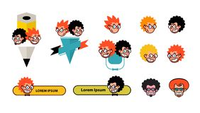 Cartoon characters geeks in a flat style. Vector image isolated on white background. Comics logo of the company. Avatar, icons of. Characters for print and site royalty free illustration