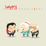 Cartoon characters grandfather grandmother and grandson. The concept of character, seniors receive a gift from a child. People cartoon boy, woman and man Royalty Free Stock Photo