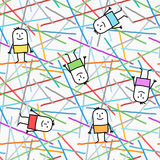 Cartoon characters on graphic lines and colors seamless pattern Stock Photography