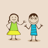 Cartoon characters with happy expressions. Stock Photos