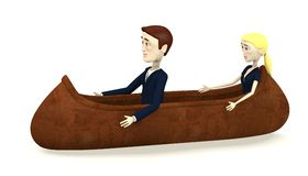 Cartoon characters in indian canoe Stock Image