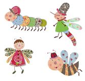 Cartoon characters, insects. Colorful fabric and paper quiltting Royalty Free Stock Photo